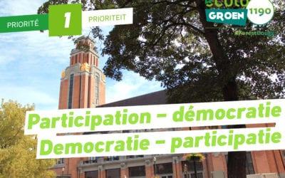 Priorité #1:  Démocratie/Participatie